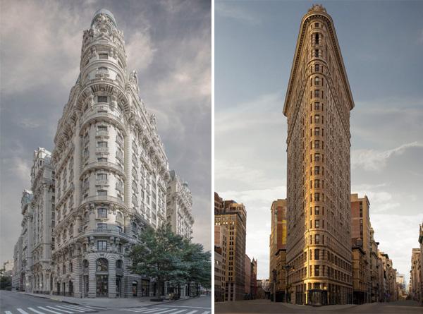 מימין: Flatiron building. משמאל: The Ansonia. צילום: Marc Yankus