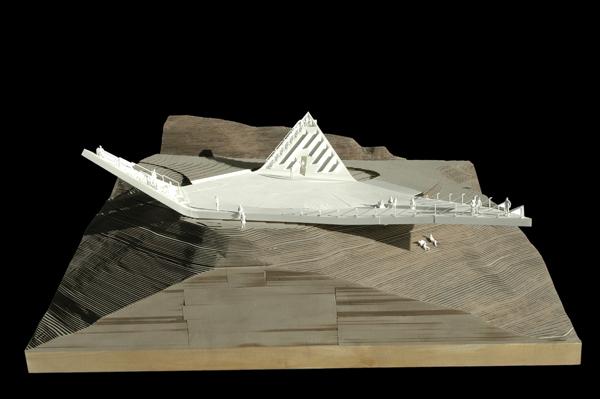 מבט חזית על מודל תלת מימדי של התצפית