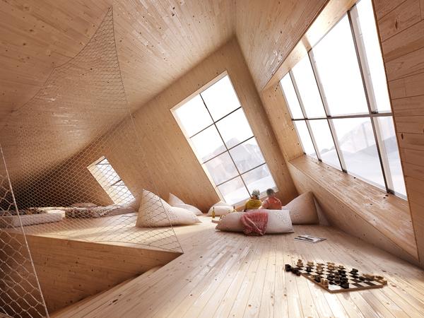 חללי הפנים עשויים מעץ