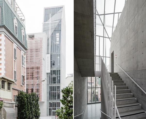 חזית המבנה וגרם מדרגות פנימי mayu architects