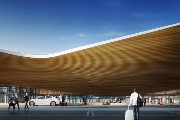 גג שדה התעופה בהלסינקי מזכיר פיסול פיני מסורתי