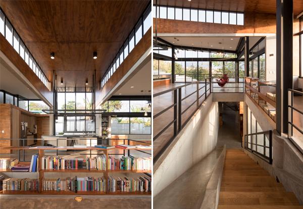 המדרגות לקומת החדרים משולבות בעץ, בטון וזכוכית