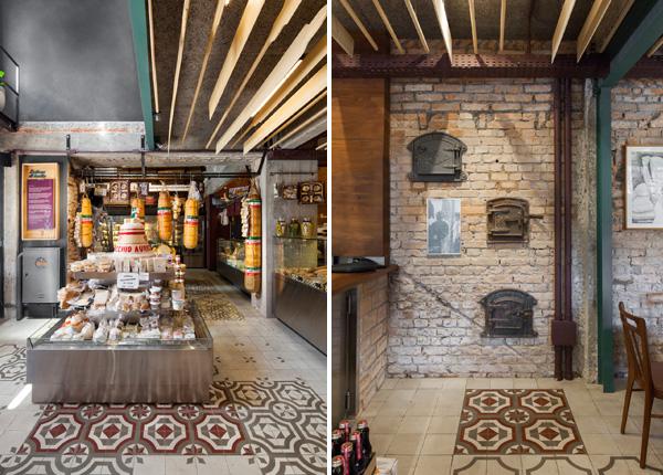 בקומת המעדנייה תנורים עתיקים ותמונות מקשטים את הקירות