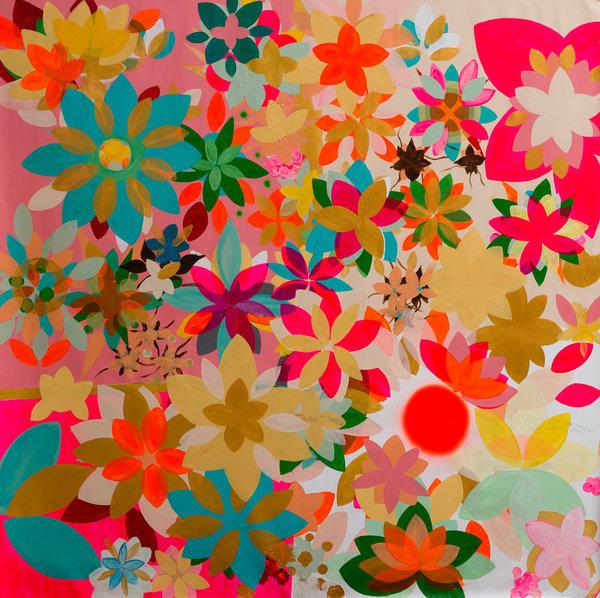 אלונה הרפז, אביב, 2014, אקריליק, ספריי וצבע תעשייתי על בד, 140x140 ס