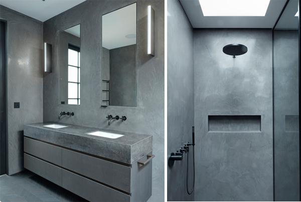 חדר רחצה אפור עם חלון סקיילייט