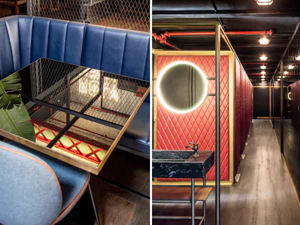 מימין: מבט על חדרי השירותים, משמאל - פינת ישיבה אינטימית