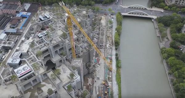 צילום דאון של פרויקט Moganshan בשנגחאי של סטודיו Heatherwick. צילום מסך מתוך הסרטון