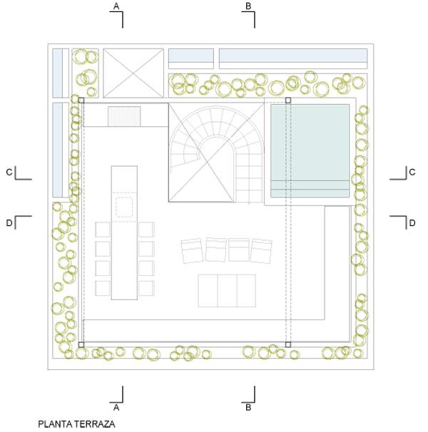 תוכנית קומת הגג - בריכה, אזורי ישיבה ומנוחה, מטבח ואזור אכילה