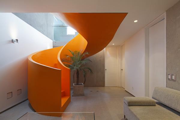 המדרגות יורדות לקומת המרתף ומחדירות אור ואוויר