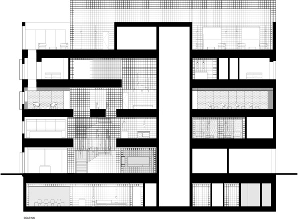חתך 5 קומות המבנה