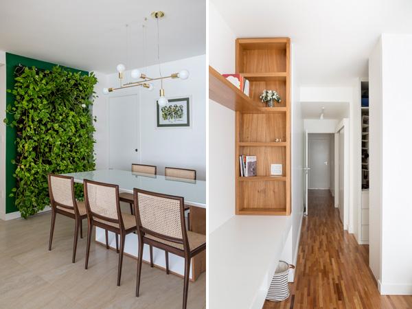 מימין: פתרונות אחסון במסדרון. משמאל: הקיר הירוק בפינת האוכל