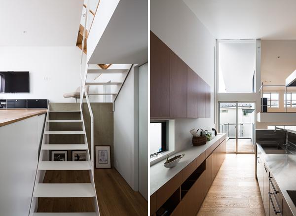 מימין: המטבח. משמאל: ירידה מחדר השינה הנוסף אל החלל הציבורי