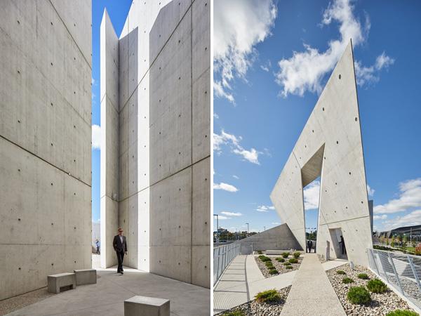 קירות נטויים וזוויתיים שיוצרים צורת מגן דוד מתוח
