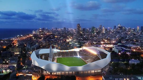 הדמיית אצטדיון בלומפילד החדש במצב לילה. באדיבות מנספלד קהת אדריכלים