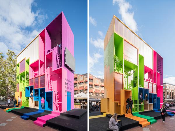 מיצג אינטראקטיבי וצבעוני בהולנד שחוקר סביבת מגורים עתידנית