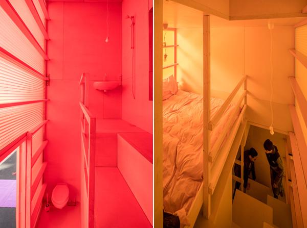 חדר שינה צהוב וחדר שירותים אדום במיצג שבוע העיצוב בהולנד