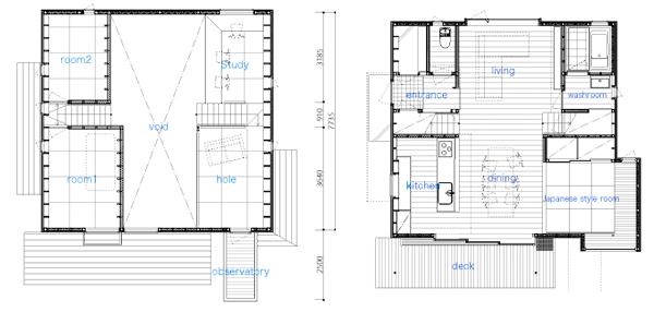 מימין תוכנית קומת הכניסה. משמאל תוכנית קומת הגלריה עם החדרים הפרטיים