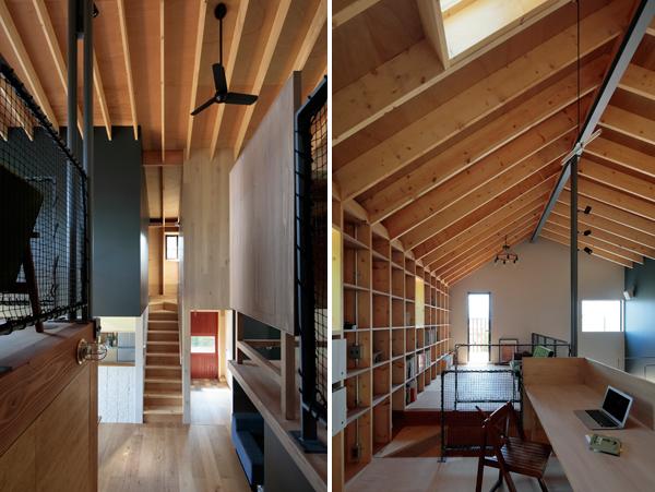 מימין פינת העבודה, משמאל גרם מדרגות לקומה השניה ולחדרים הפרטיים