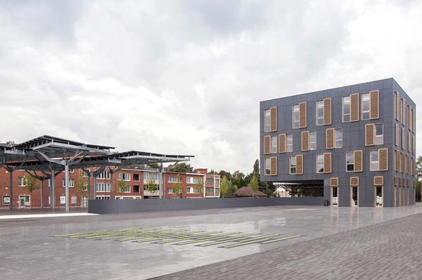 מרחב ציבורי נקי ויזואלית. Abscis-Architecten-Thomas-de-Bruyne