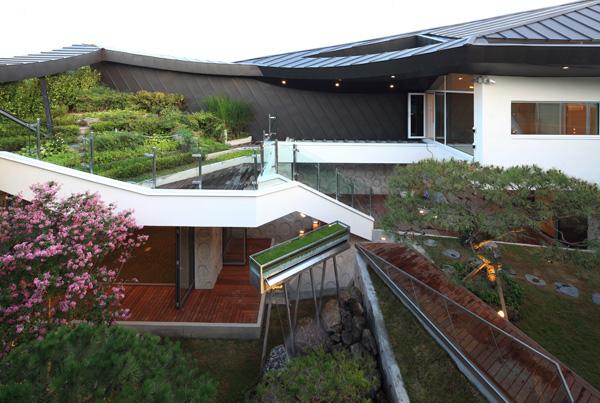 מבט על המפלסים השונים של הבית במבט מהחצר