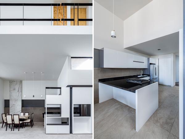 בקומה התחתונה ממוקם המטבח ופינת האוכל