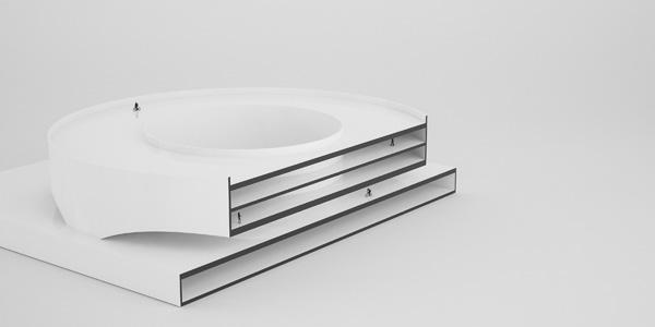 דגם שמציג חתך של המבנה העגול