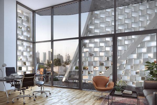 Apertures, המעטפת הייחודית יוצרת סירקולצית אוויר יחד עם צל, צילום: Belzberg Architects