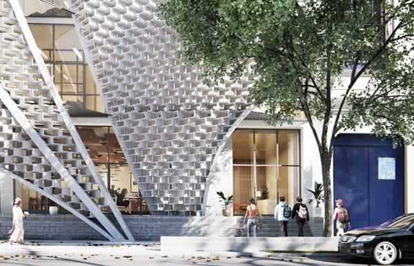 Apertures, כניסה לבניין דרך המעטפת המרשימה, צילום: Belzberg Architects