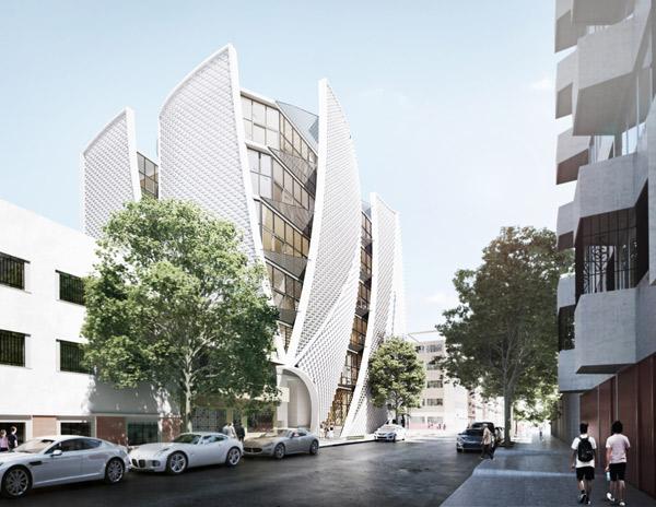 Apertures, שיטת ייצור המעטפת יוצרת דינמיות ואווריריות, צילום: Belzberg Architects