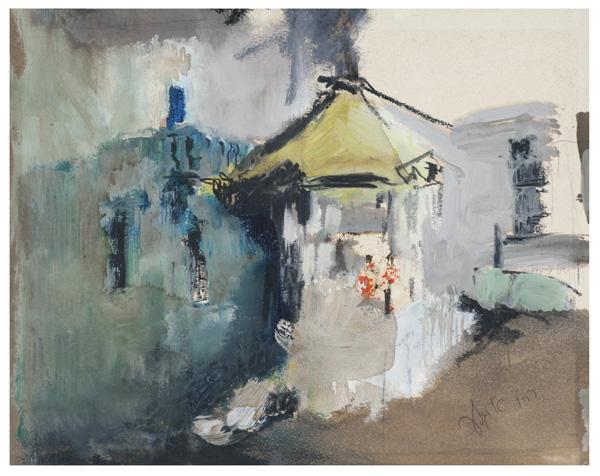 ציור נוסף מתוך סדרת הקיוסקים, רחל אלקלעי,
