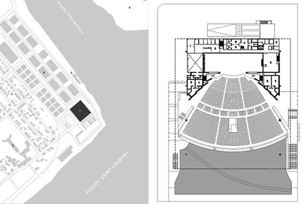 האמפיתאטרון בטרואה-ריבייר. מימין: תכנית מפלס הכניסה. משמאל: מיקום המבנה, על גדת המפגש בין נהרות