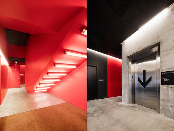 שילוב חומרים וצבעים יוצר קשר למעטפת החיצונית גם בחללים הפנימיים של האמפיתאטרון