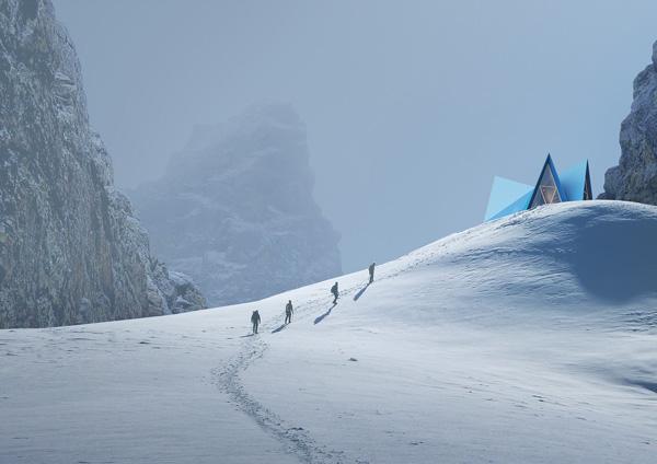 צורת האוהל נראית למרחקים. Skýli, הדמיה: Utopia Arkitekter