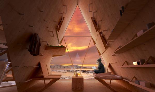 חלונות זכוכית גדולים מכניסים את הנוף פנימה. Skýli, הדמיה: Utopia Arkitekter
