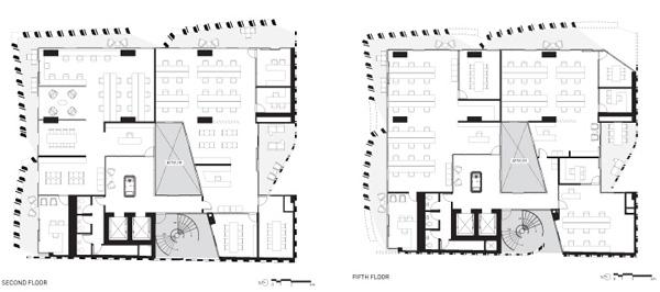Apertures, תכניות הקומה השניה והחמישית, Belzberg Architects