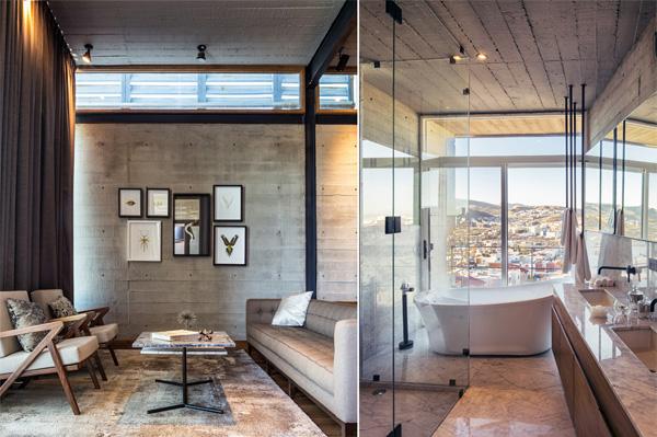 מימין: אמבטיה המשקיפה אל הנוף העירוני הפתוח. משמאל: הריהוט בסלון בסגנון מודרני. צילום: Delfoz