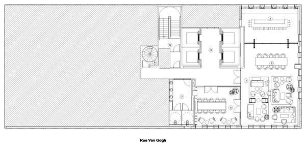תכנית מפלס הגג. תכנון: concrete