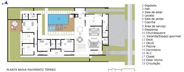 תכנית מפלס הכניסה. תכנון: Raffo Arquitetura