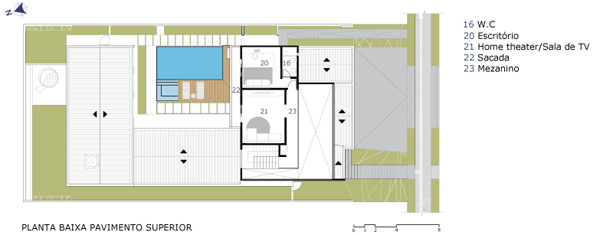 תכנית המפלס העליון. תכנון: Raffo Arquitetura