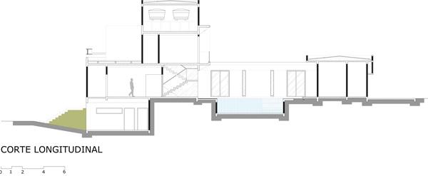 בית קומרו - חתך אורכי. תכנון: Raffo Arquitetura