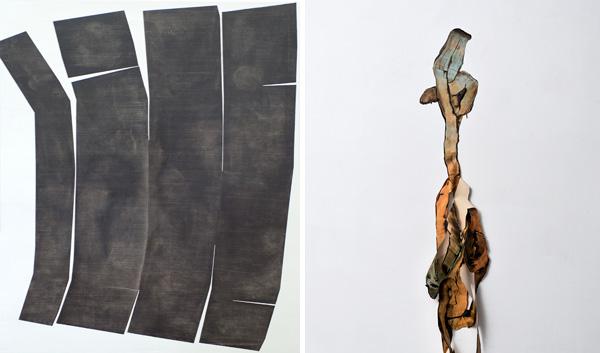 מימין: טל ירושלמי, טכניקה מעורבת על קיר, 2017. צילום: אלעד שריג. משמאל: שגיא אזולאי, אבן שחורה, שמן ואקריליק על בד.