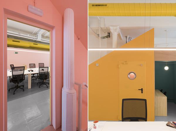 הצבעוניות הבוהקת מוסיפה אור ועניין לאזורי העבודה. צילום: Roberto Ruiz