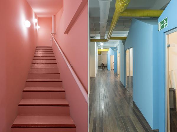 מימין: שדרת הבתים הכחולים, משמאל: המדרגות הוורודות. צילום: Roberto Ruiz