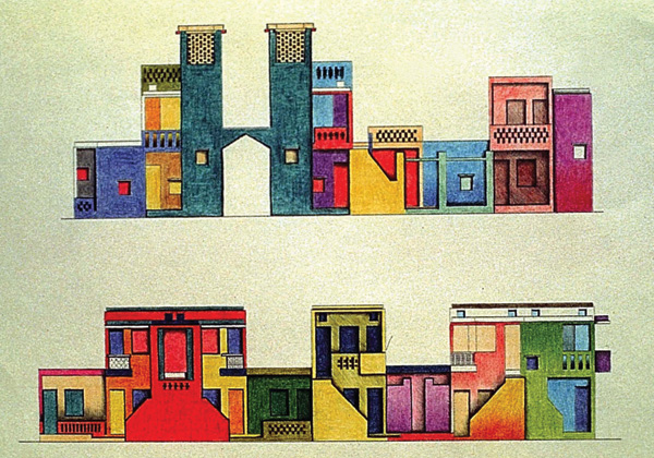 ציורי סקיצה לפרויקט דיור בר ההשגה באינדורה, הודו. צילום באדיבות VSF
