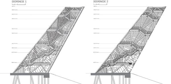 מגדל פומפיאוס - חתכים. תכנון: RO&AD Architecten