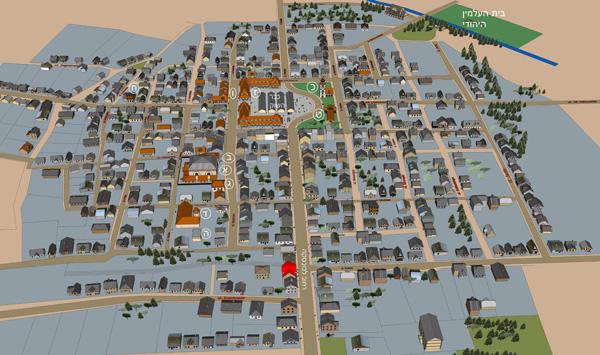 מיפוי העיירה טומשוב, השוחזרה לאחר מחקר מקיף