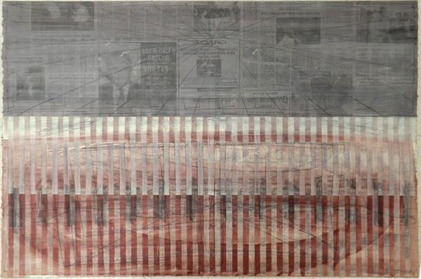 משה קופפרמן, שמן גרפיט, עפרון והדפס על נייר. קרדיט: יח