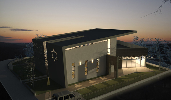 אור זורח מתוך האולם בשעות החשיכה. בית כנסת אביר יעקב ברמת ישי, איתי זהבי אדריכלים.