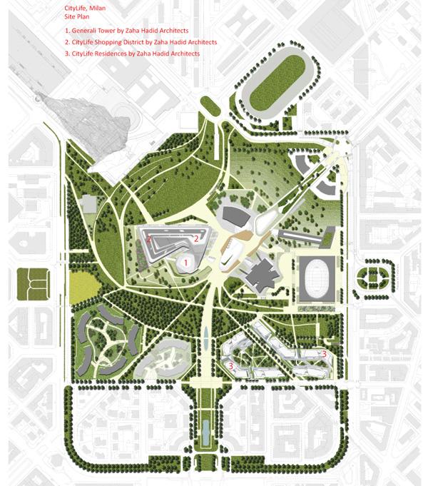 תכנית פרויקט CityLife כולו במילאנו. תכנון: Zaha Hadid Architects.