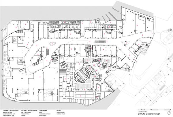 תכנית קומת המסחר. תכנון: Zaha Hadid Architects.
